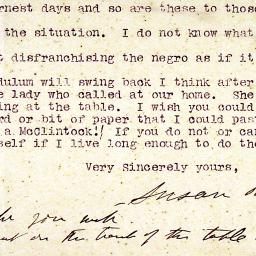 Letter from Susan B. Anthony