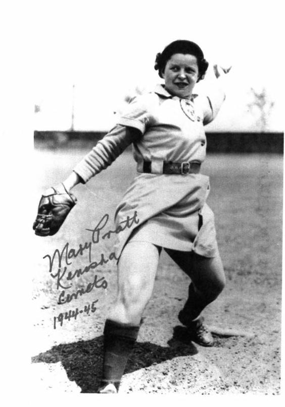 Mary Pratt pitching a baseball
