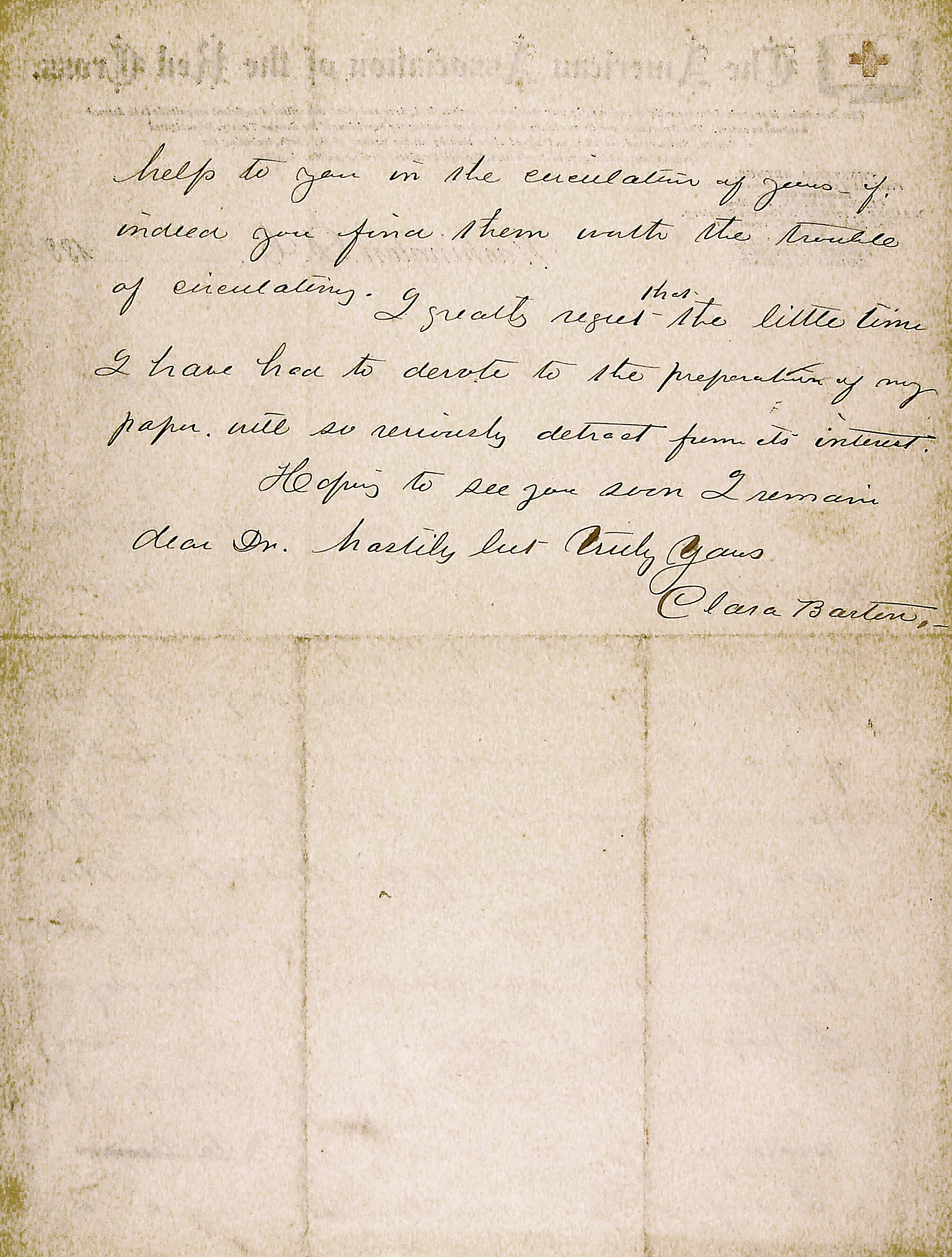 Letter from Clara Barton
