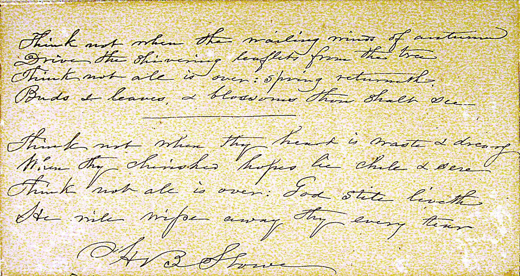 Letter from Harriet Beecher Stowe